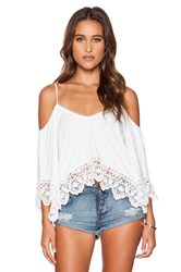 Nightcap Crochet Jersey Ruffle Top White