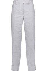 Thom Browne Striped Cotton Seersucker Straight Leg Pants Blue
