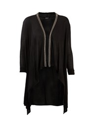 Morgan Beaded Collar Waterfall Cardigan Black