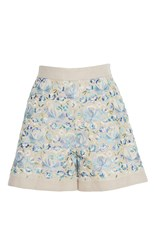 Luisa Beccaria Linen Embroidered Shorts Blue