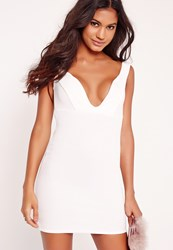 Missguided Plunge Bardot Bodycon Dress White White