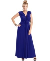 Love Squared Plus Size Sleeveless Knotted Maxi Dress Navy
