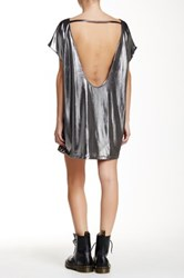 American Apparel Metallic Jersey Short Sleeve Tunic Gray