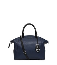 Michael Kors Riley Medium Two Tone Leather Satchel Navy Black