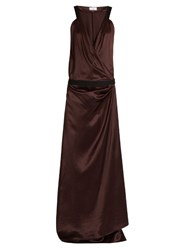 Raey Herringbone Tape Silk Satin Dress Burgundy