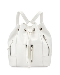Neiman Marcus Faux Leather Drawstring Backpack White