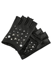 Karl Lagerfeld Studs Fingerless Gloves Black