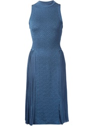 Nina Ricci Sleeveless Pleated Dress Blue