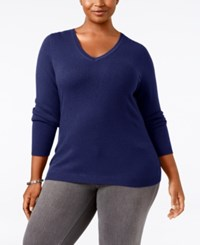 Charter Club Plus Size Cashmere V Neck Sweater Only At Macy's Wine Frost