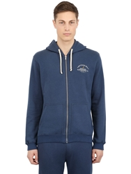Lightning Bolt Hooded Cotton Blend Sweatshirt Blue
