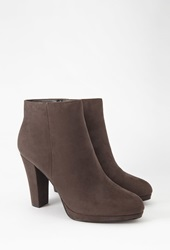 Forever 21 Faux Suede Booties Dark Grey