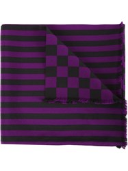 Haider Ackermann Check And Stripe Print Scarf Pink And Purple