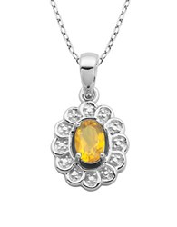 Lord And Taylor November Birthstone Sterling Silver Necklace Citrine