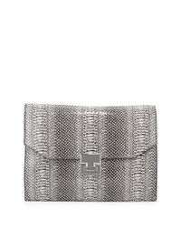 Ivanka Trump Hopewell Snake Embossed Clutch Bag Black