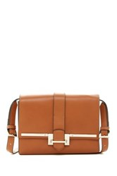 Karen Millen Sleek Metal Leather Satchel Brown
