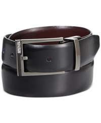 Kenneth Cole Reaction Matte Plaque Accent Reversible Belt Black Burg