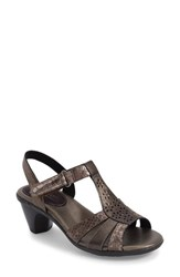 Women's Aravon 'Mary' T Strap Sandal Grey Leather