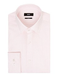 Hugo Boss Pattern Slim Fit Long Sleeve Classic Collar Shirt Red