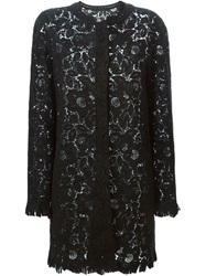 Ermanno Scervino Embroidered Lace Coat Black