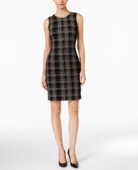 Calvin Klein Plaid Sheath Dress Black White