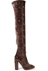 Aquazzura Fauna Embellished Velvet Over The Knee Boots Dark Brown