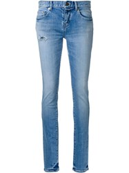 Saint Laurent Low Waisted Skinny Jeans Blue