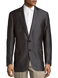 Brioni Wool And Silk Long Sleeve Blazer Brown Sepia