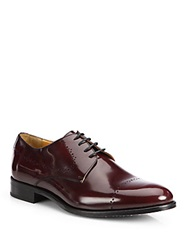 Saks Fifth Avenue Perforated Cap Toe Derby Shoes Burgundy