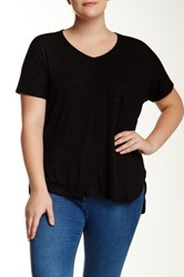 Bobeau Short Sleeve V Neck Pocket Tee Plus Size Black