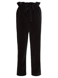 Isa Arfen Straight Leg Cotton Blend Velvet Trousers Black