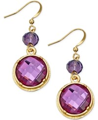 Styleandco. Style And Co. Gold Tone Purple Crystal Drop Earrings Only At Macy's