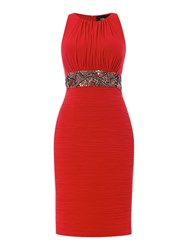 Js Collections Beaded Waist Dress With Pleated Skirt Red
