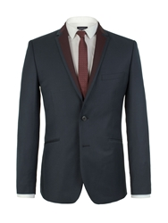 Limehaus Plain Notch Collar Slim Fit Suit Jackets Navy