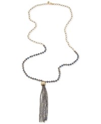 Carolee Gold Tone Glass Bead Tassel Necklace Purple