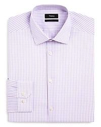 Theory Light Gingham Slim Fit Dress Shirt Lavendar