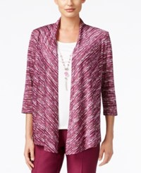 Alfred Dunner Veneto Valley Collection Space Dyed Layered Look Top Wine