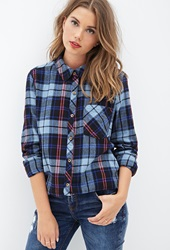 Forever 21 Tartan Plaid Flannel Shirt Dark Navy Blue