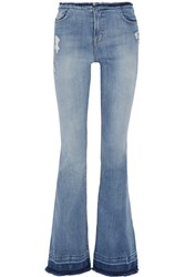 J Brand Maria Distressed High Rise Flared Jeans Blue