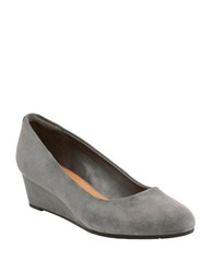 Clarks Artisan Vendra Bloom Goat Suede Wedge Pumps Grey