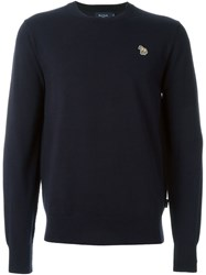 Paul Smith Jeans Embroidered Zebra Sweater Blue