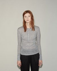 Alexander Wang Wooly Rib Henley Light Heather Grey
