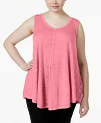 Calvin Klein Performance Plus Size Relaxed Fit V Neck Tank Top Cerese