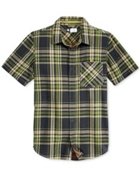 Lrg Men's Short Sleeve Big Cat Plaid Shirt Black