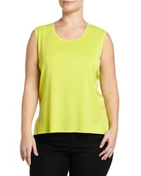 Ming Wang Plus Sleeveless Scoop Neck Shell Lime Green