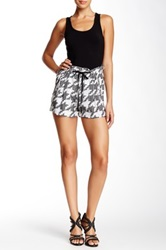 L.A.M.B. Houndstooth Printed Silk Short Black