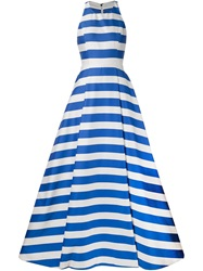 Alice Olivia Alice Olivia Long Striped Open Back Dress Blue