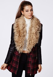 Missguided Faux Fur Leather Biker Sleeve Coat Red Check