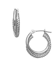 Lord And Taylor 14K White Gold Interlocked Spiral Tube Hoop Earrings