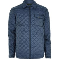Only And Sons River Island Mens Navy Quilted Jacket