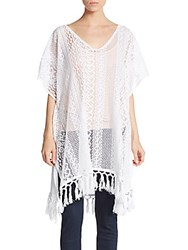 Saks Fifth Avenue Black Crochet Tunic Top White